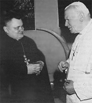 The manager of deanery of Byelorussian Greek-Catholic Church, protopresviter father John  Matusevich and Pope John Paul II. Vatican. November, 1996.